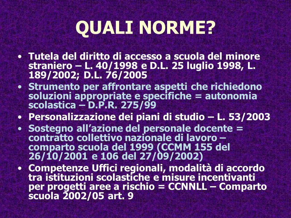 QUALI NORME Tutela del diritto di accesso a scuola del minore straniero – L. 40/1998 e D.L. 25 luglio 1998, L. 189/2002; D.L. 76/2005.