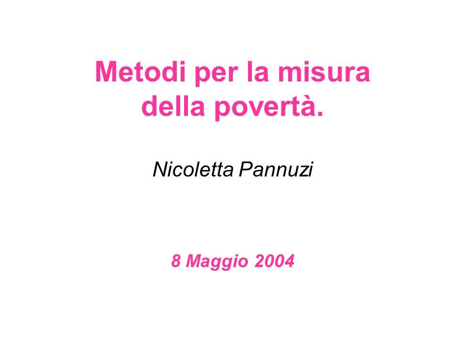 Metodi per la misura della povertà. Nicoletta Pannuzi 8 Maggio 2004