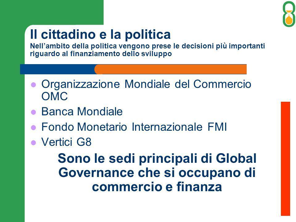 Il cittadino e la politica Nell'ambito della politica vengono prese le decisioni più importanti riguardo al finanziamento dello sviluppo