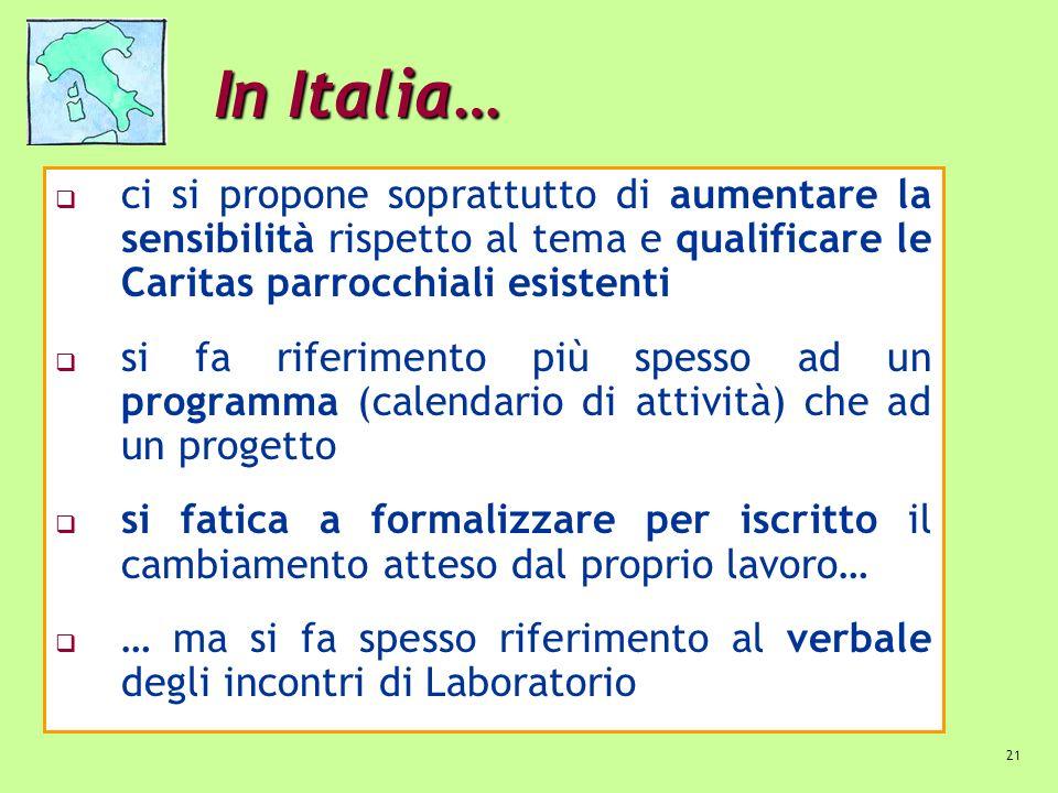 In Italia… ci si propone soprattutto di aumentare la sensibilità rispetto al tema e qualificare le Caritas parrocchiali esistenti.