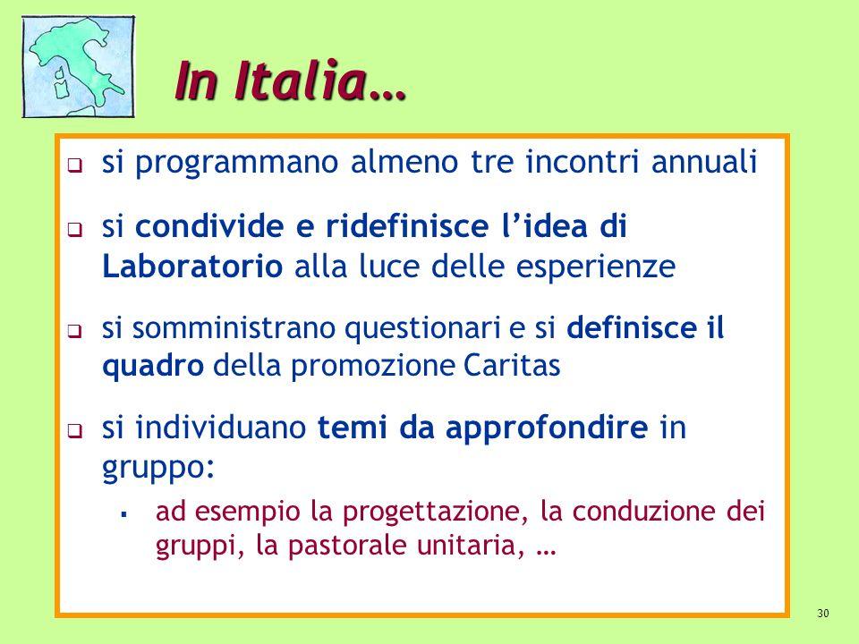 In Italia… si programmano almeno tre incontri annuali