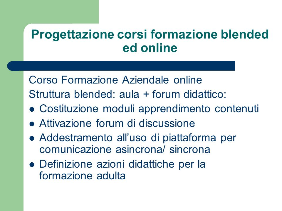 Progettazione corsi formazione blended ed online