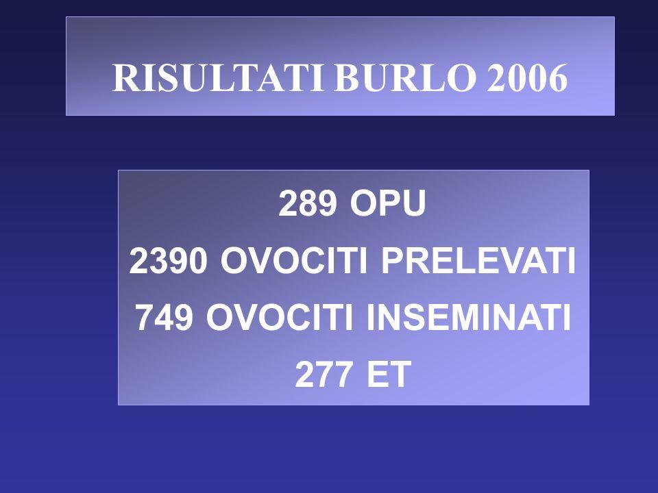 RISULTATI BURLO 2006 289 OPU 2390 OVOCITI PRELEVATI