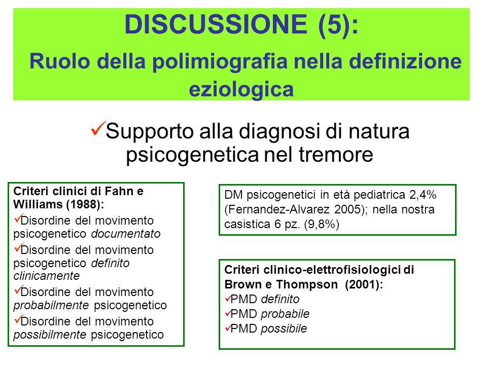 Supporto alla diagnosi di natura psicogenetica nel tremore