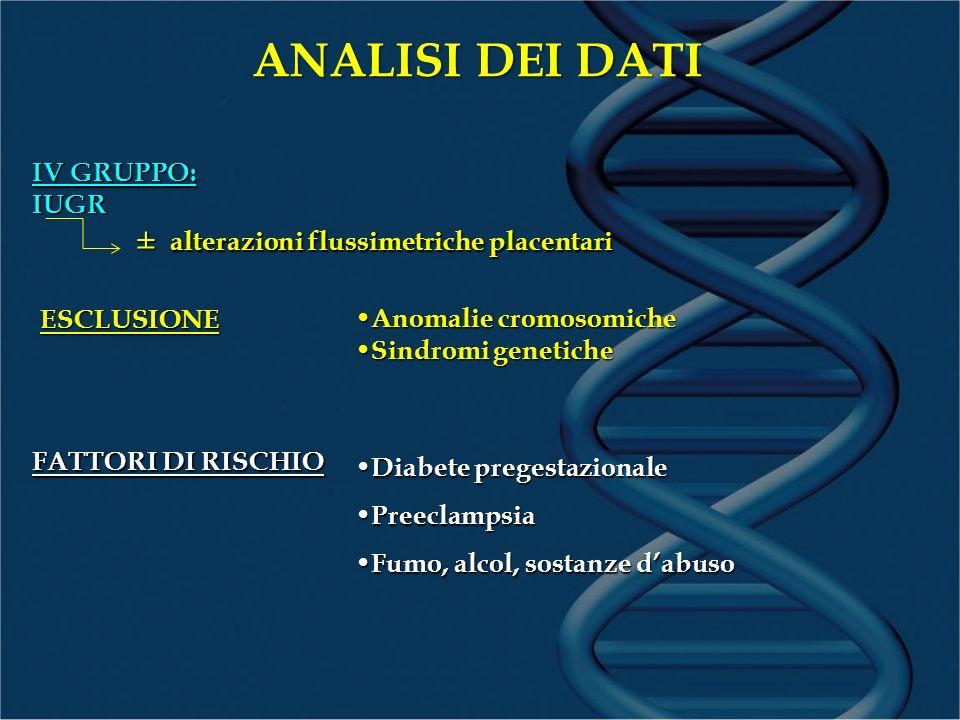 ANALISI DEI DATI ± alterazioni flussimetriche placentari IV GRUPPO: