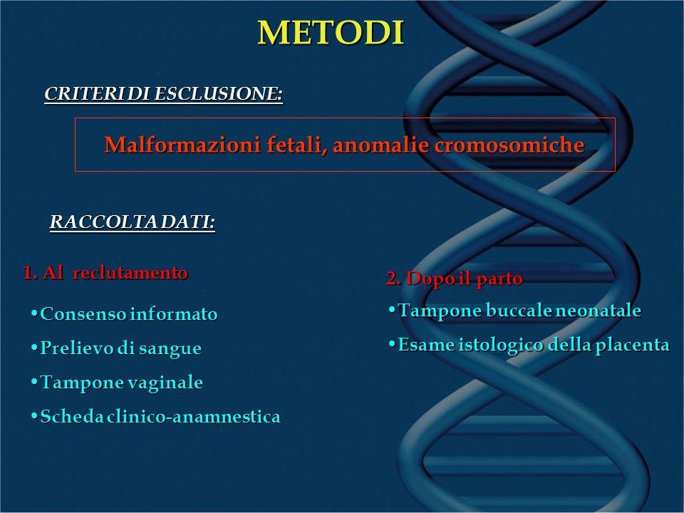 Malformazioni fetali, anomalie cromosomiche