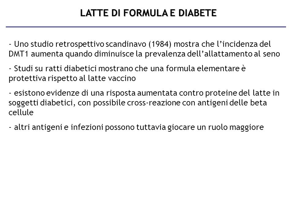 LATTE DI FORMULA E DIABETE