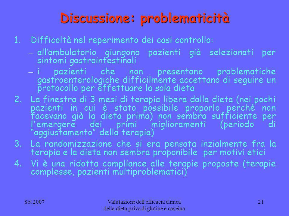 Discussione: problematicità