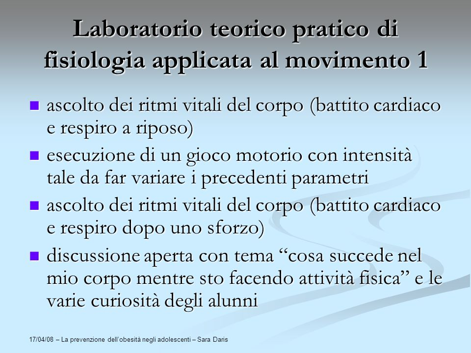 Laboratorio teorico pratico di fisiologia applicata al movimento 1