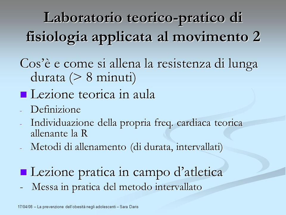Laboratorio teorico-pratico di fisiologia applicata al movimento 2