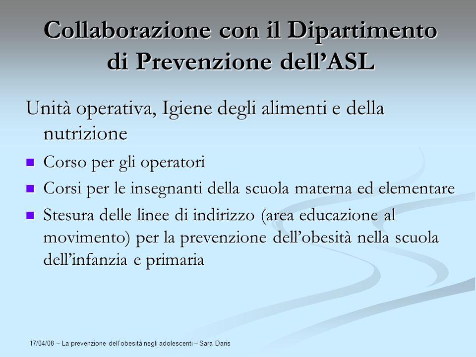 Collaborazione con il Dipartimento di Prevenzione dell'ASL