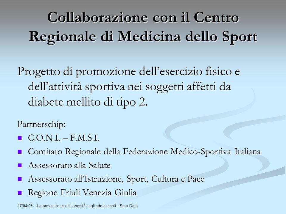 Collaborazione con il Centro Regionale di Medicina dello Sport