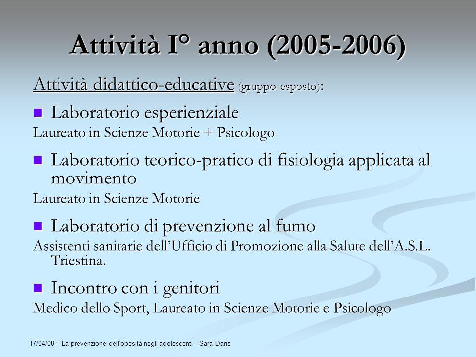 Attività I° anno (2005-2006) Attività didattico-educative (gruppo esposto): Laboratorio esperienziale.