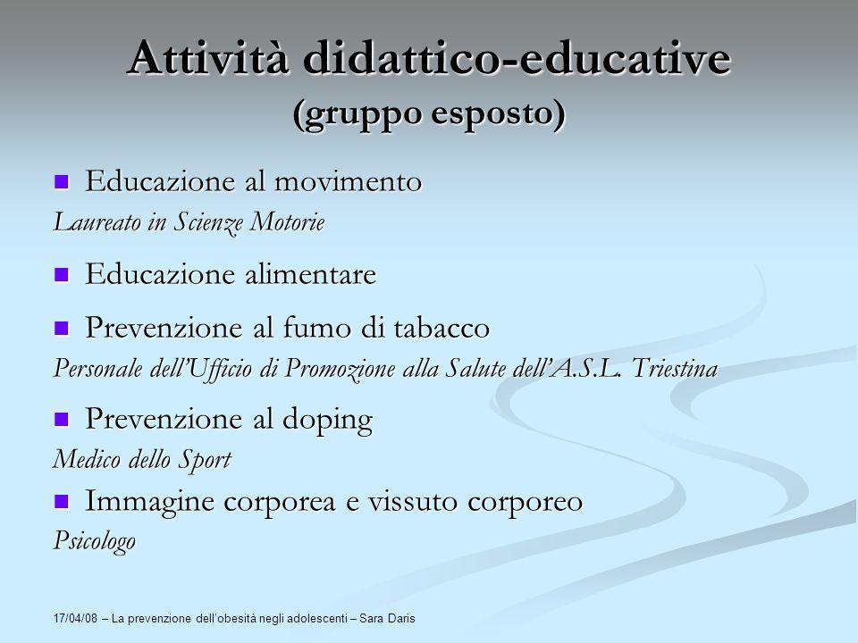 Attività didattico-educative (gruppo esposto)