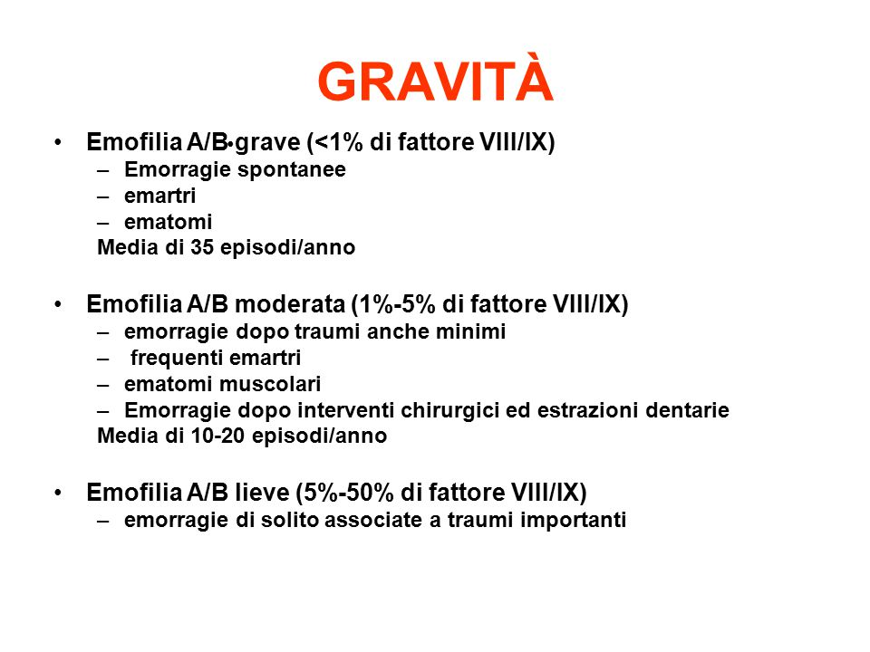 GRAVITÀ Emofilia A/B grave (<1% di fattore VIII/IX)