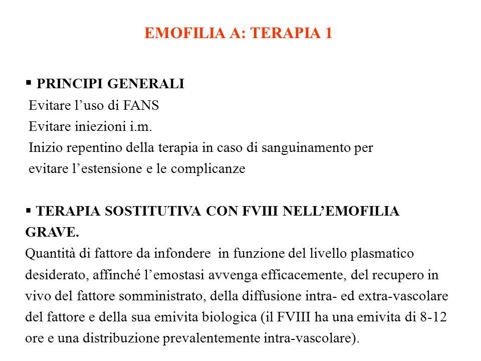 EMOFILIA A: TERAPIA 1 PRINCIPI GENERALI Evitare l'uso di FANS