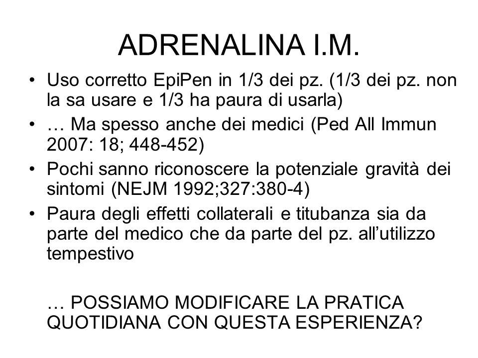 ADRENALINA I.M. Uso corretto EpiPen in 1/3 dei pz. (1/3 dei pz. non la sa usare e 1/3 ha paura di usarla)