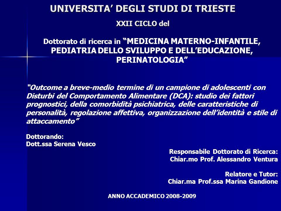 UNIVERSITA' DEGLI STUDI DI TRIESTE XXII CICLO del