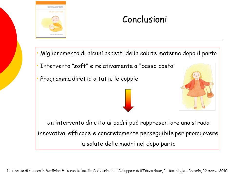 Conclusioni Miglioramento di alcuni aspetti della salute materna dopo il parto. Intervento soft e relativamente a basso costo