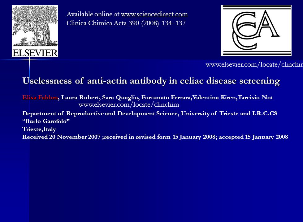 Uselessness of anti-actin antibody in celiac disease screening