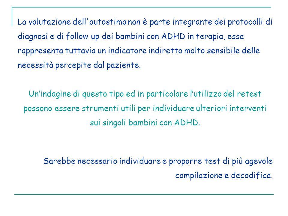 La valutazione dell autostima non è parte integrante dei protocolli di diagnosi e di follow up dei bambini con ADHD in terapia, essa rappresenta tuttavia un indicatore indiretto molto sensibile delle necessità percepite dal paziente.