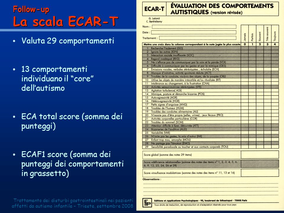 La scala ECAR-T Follow-up Valuta 29 comportamenti