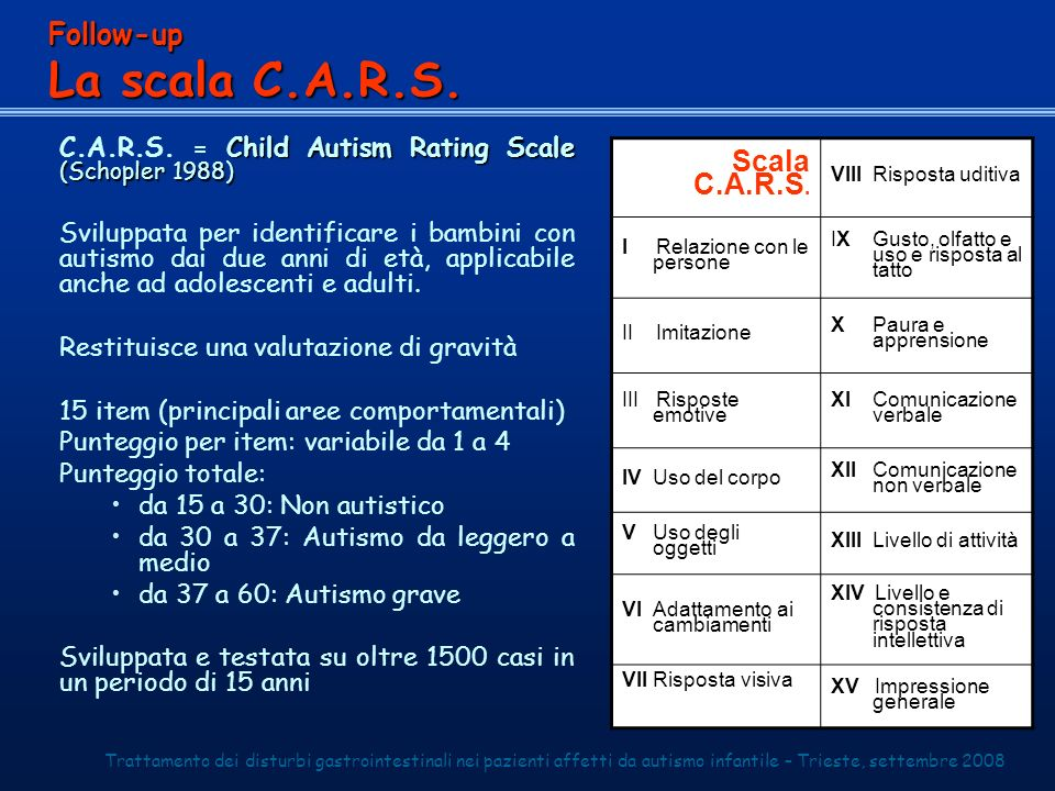 La scala C.A.R.S. Follow-up Scala C.A.R.S.