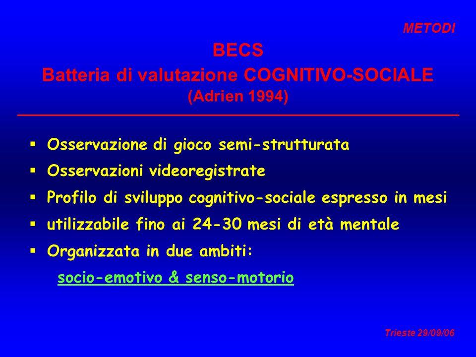 BECS Batteria di valutazione COGNITIVO-SOCIALE (Adrien 1994)
