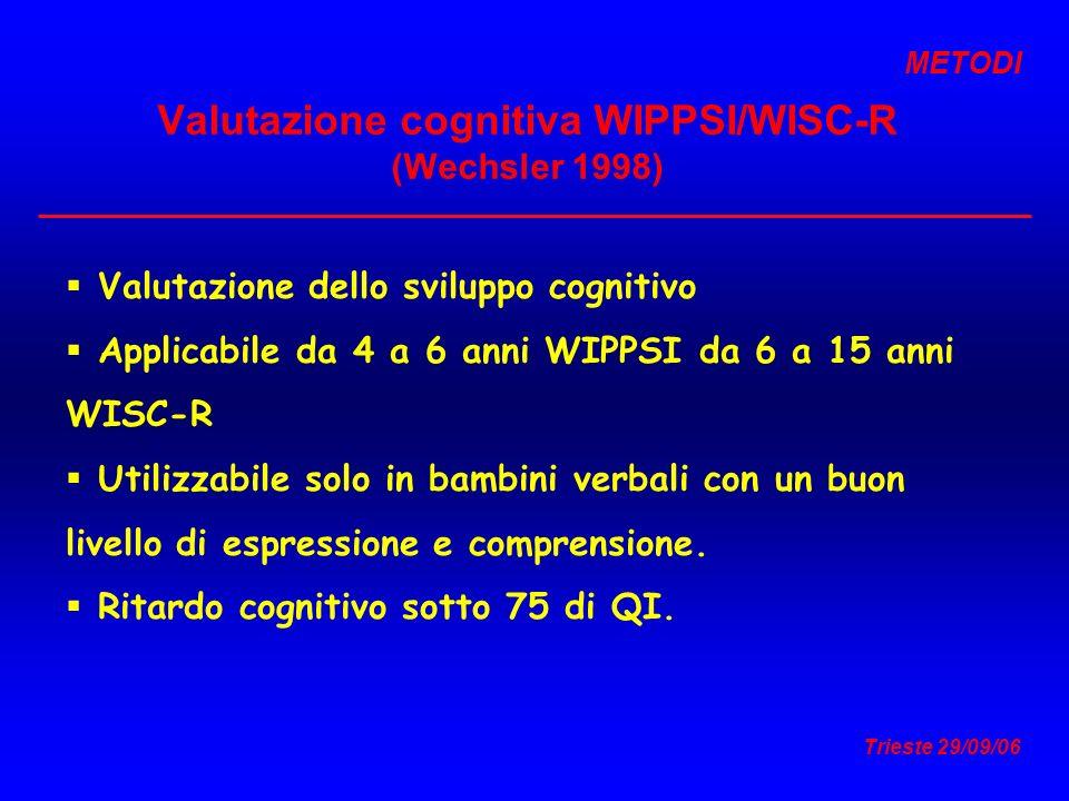 Valutazione cognitiva WIPPSI/WISC-R (Wechsler 1998)