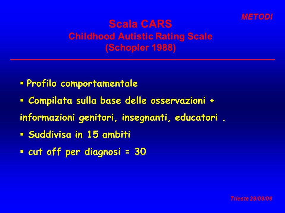 Scala CARS Childhood Autistic Rating Scale (Schopler 1988)