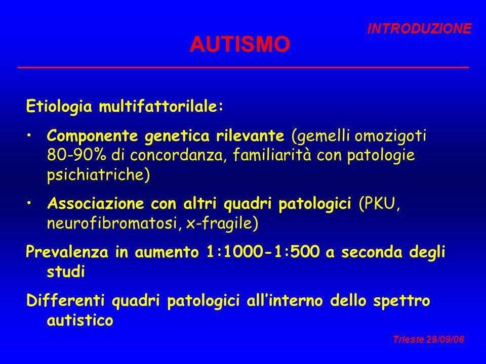 AUTISMO Etiologia multifattorilale: