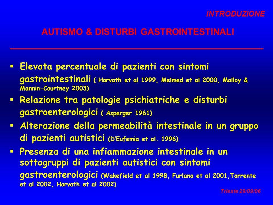 AUTISMO & DISTURBI GASTROINTESTINALI
