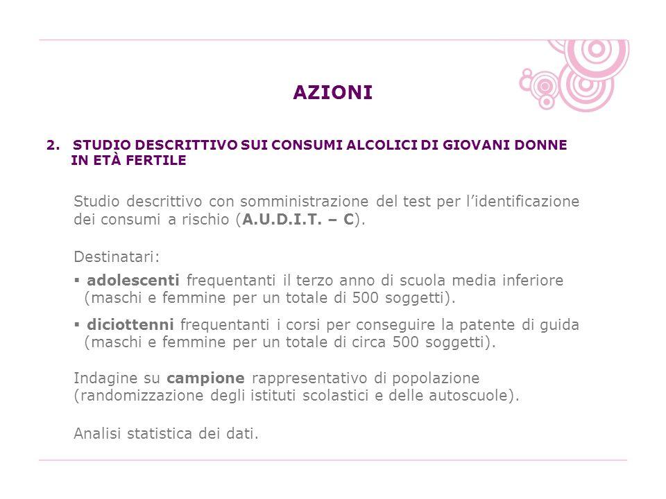 AZIONI 2. STUDIO DESCRITTIVO SUI CONSUMI ALCOLICI DI GIOVANI DONNE IN ETÀ FERTILE.