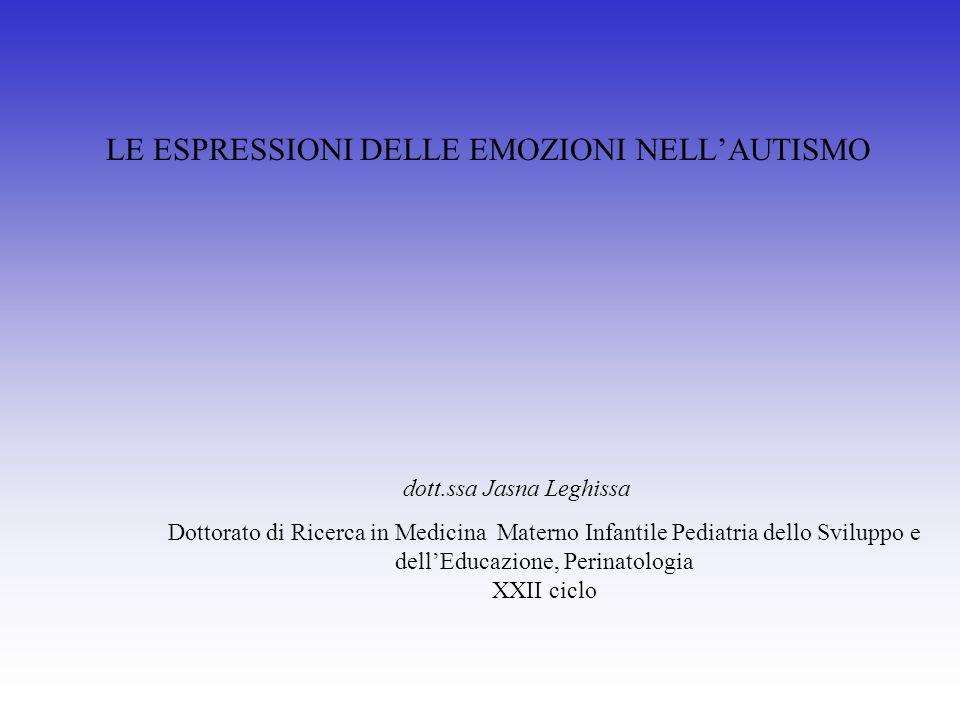 LE ESPRESSIONI DELLE EMOZIONI NELL'AUTISMO
