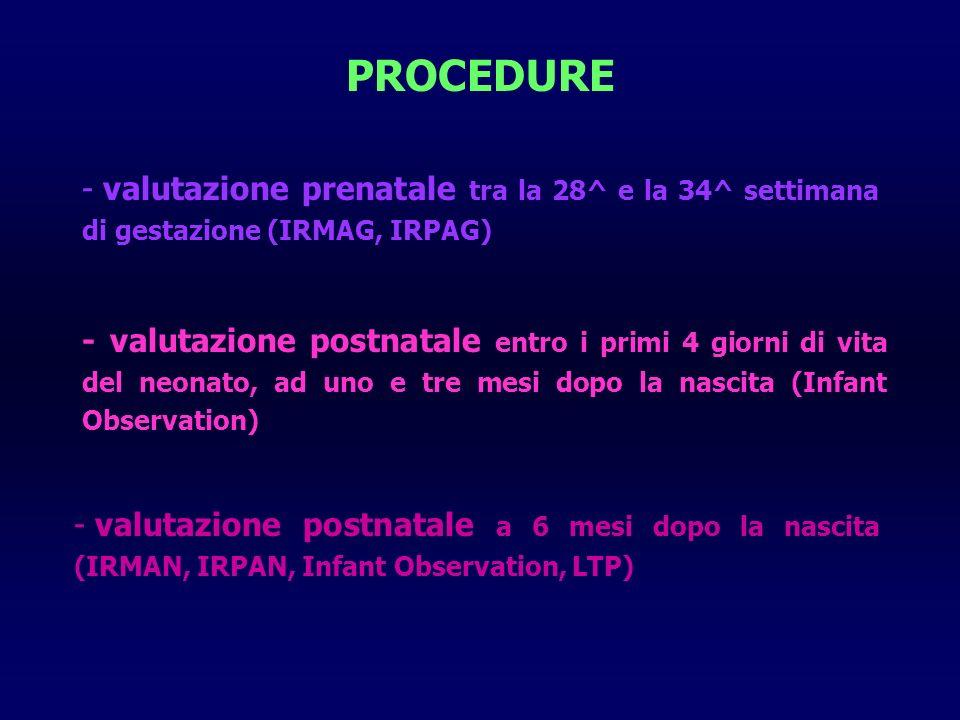 PROCEDURE valutazione prenatale tra la 28^ e la 34^ settimana di gestazione (IRMAG, IRPAG)