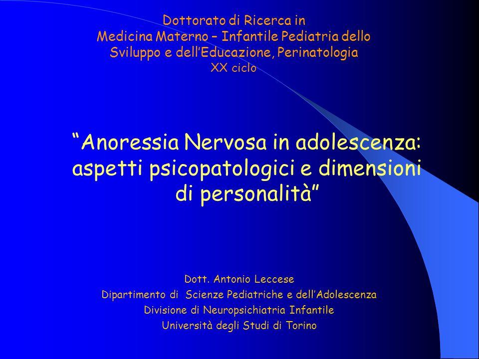Anoressia Nervosa in adolescenza: