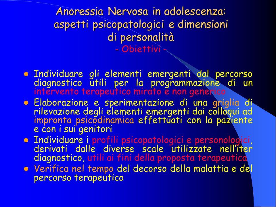 Anoressia Nervosa in adolescenza: aspetti psicopatologici e dimensioni di personalità - Obiettivi -
