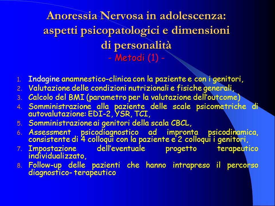 Anoressia Nervosa in adolescenza: aspetti psicopatologici e dimensioni di personalità - Metodi (1) -