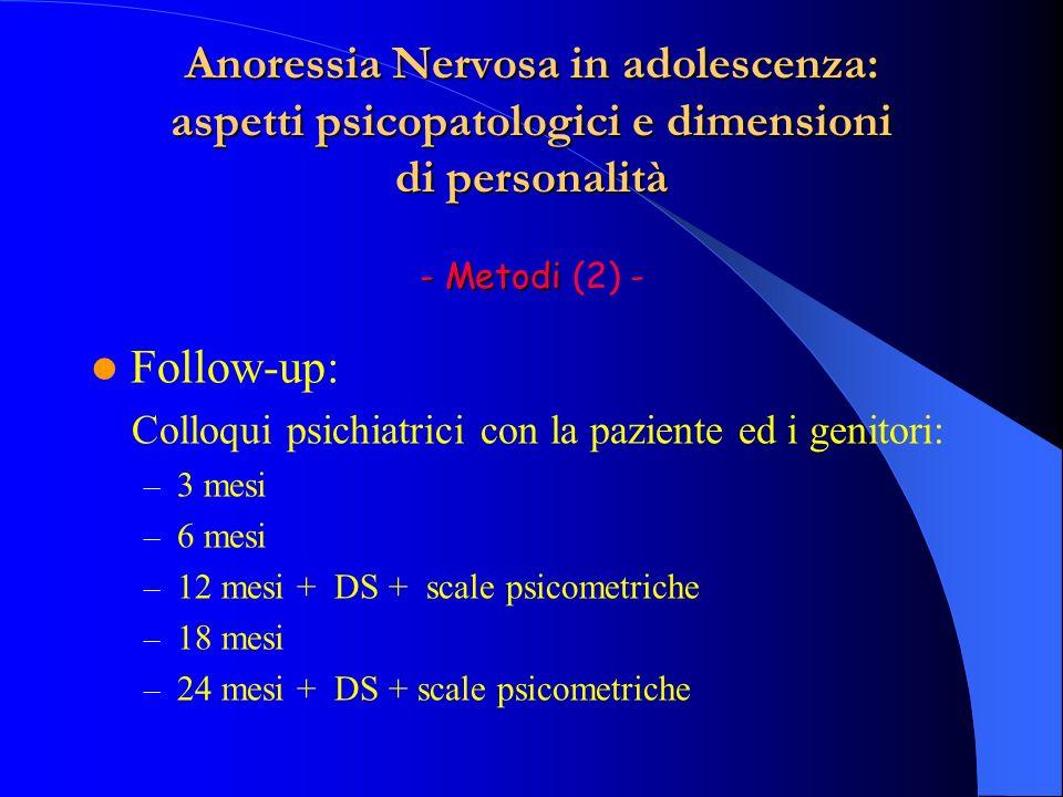 Anoressia Nervosa in adolescenza: aspetti psicopatologici e dimensioni di personalità - Metodi (2) -