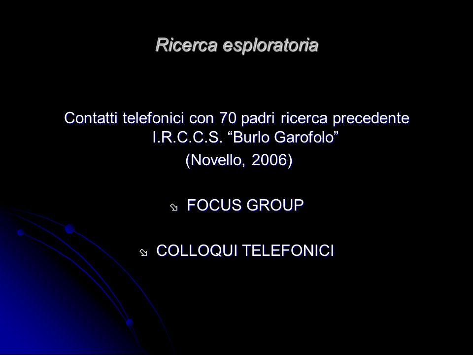 Ricerca esploratoria Contatti telefonici con 70 padri ricerca precedente I.R.C.C.S. Burlo Garofolo