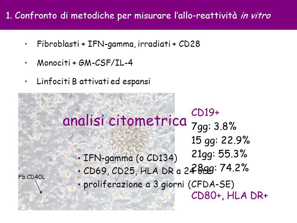 1. Confronto di metodiche per misurare l'allo-reattività in vitro