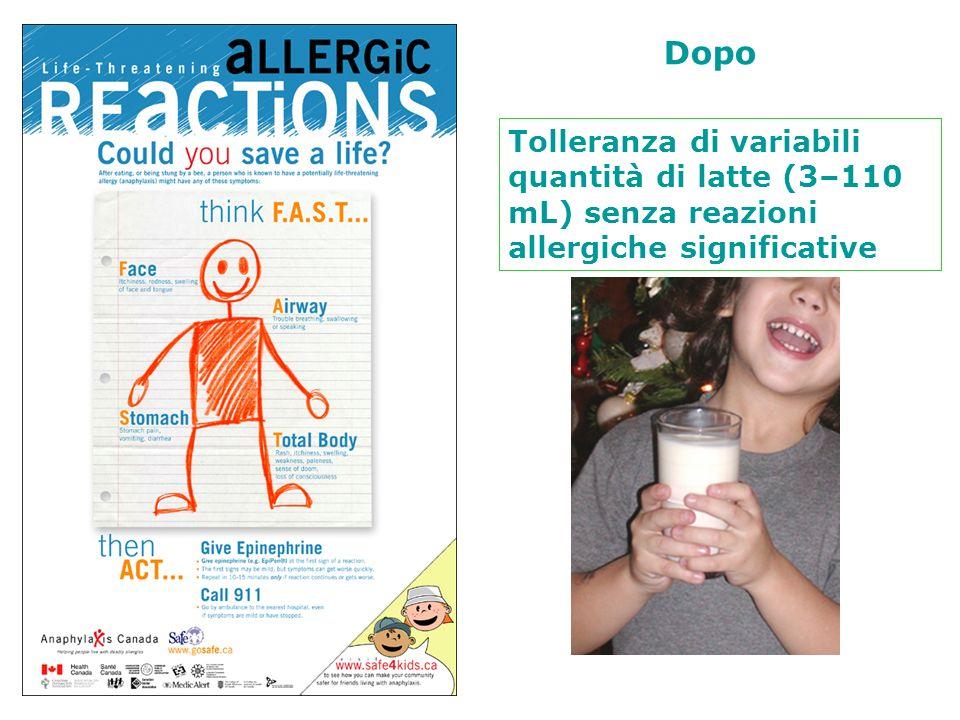 Prima Dopo. Reazioni allergiche gravi anche per quantità minime di latte assunto.