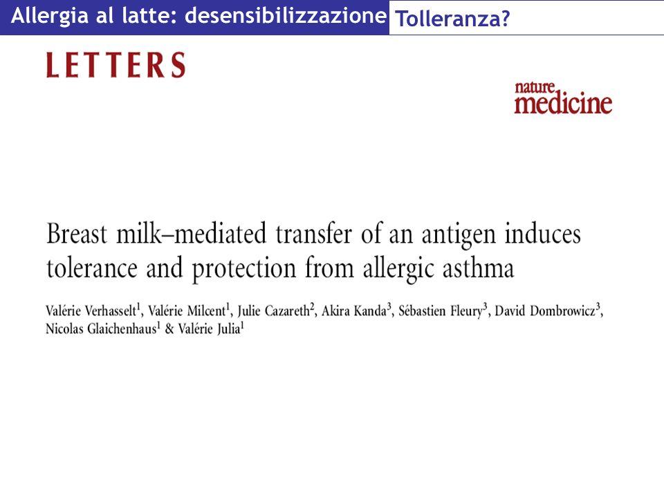 Allergia al latte: desensibilizzazione