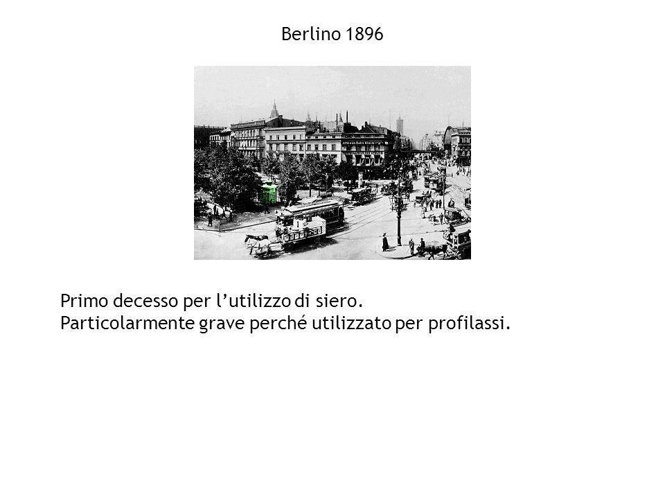 Berlino 1896 Primo decesso per l'utilizzo di siero.