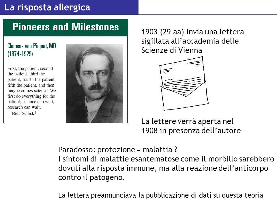 La risposta allergica 1903 (29 aa) invia una lettera sigillata all'accademia delle Scienze di Vienna.