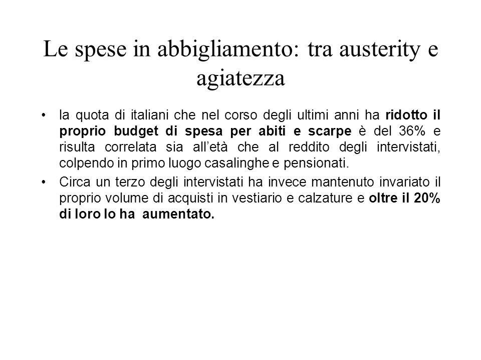 Le spese in abbigliamento: tra austerity e agiatezza