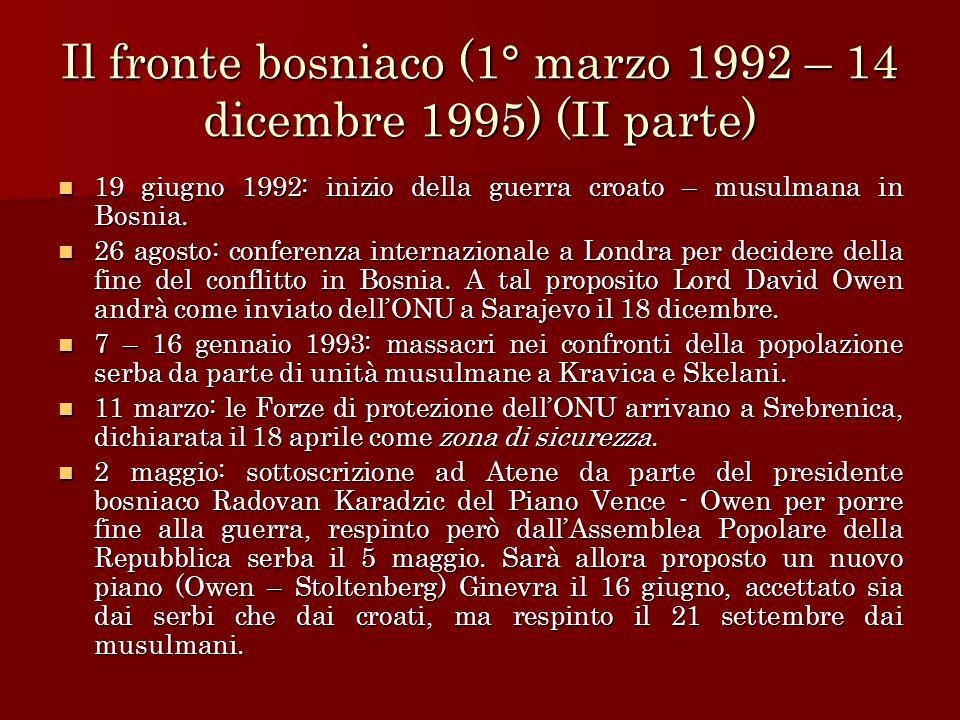 Il fronte bosniaco (1° marzo 1992 – 14 dicembre 1995) (II parte)