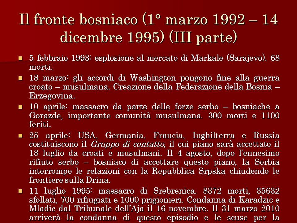 Il fronte bosniaco (1° marzo 1992 – 14 dicembre 1995) (III parte)