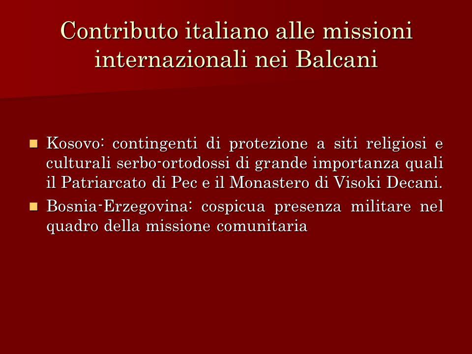 Contributo italiano alle missioni internazionali nei Balcani
