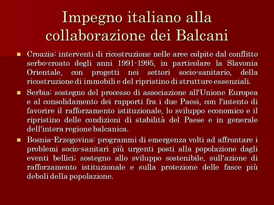 Impegno italiano alla collaborazione dei Balcani
